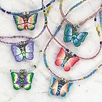 Fimo Butterfly Seed Bead Necklace